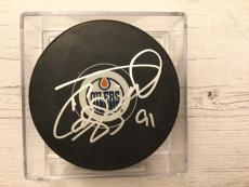 Drake Caggiula Signed Autographed Edmonton Oilers Hockey Puck d