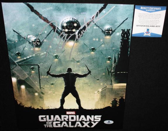 DRAX Dave Bautista signed 11 x 14, Guardians of the Galaxy, Spectre, Beckett BAS