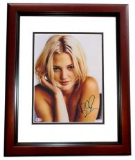 Drew Barrymore Autographed Sexy 8x10 Photo MAHOGANY CUSTOM FRAME