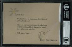 Drew Barrymore Grey Gardens Signed 5x7 Letter Autographed BAS Slabbed
