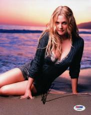 Drew Barrymore Signed Autographed 8X10 Photo Sexy on Beach PSA Y90809