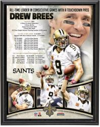 New Orleans Saints Drew Brees Record Breaking Touchdown Pass Plaque - Mounted Memories