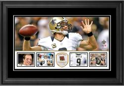 "Drew Brees New Orleans Saints Framed 10"" x 18""  Panoramic with Piece of Game-Used Football - Limited Edition of 250"