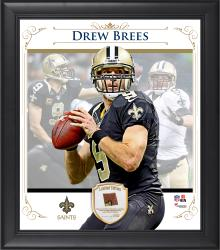 "Drew Brees New Orleans Saints Framed 15"" x 17"" Composite Collage with Piece of Game-Used Football"