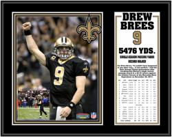 New Orleans Saints Drew Brees Season Passing Leader Plaque - Mounted Memories