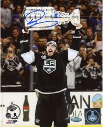 Drew Doughty Los Angeles Kings 2014 Stanley Cup Champions Autographed 8'' x 10'' Raising Stanley Cup Photograph