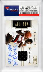 "DREXLER, C. AUTO  w/GU JERSEY ""NBA TOP 50"" (2011 PANINI #4) - Mounted Memories"