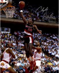 """Clyde Drexler Portland Trail Blazers Autographed 16"""" x 20"""" Black Uniform Photograph"""