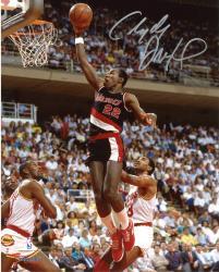 """Clyde Drexler Portland Trail Blazers Autographed 8"""" x 10"""" Black Uniform Photograph"""