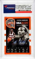 Clyde Drexler Portland Trail Blazers Autographed 2013 Panini #4 Card with HOF 04 Inscription