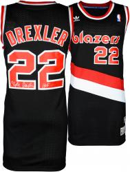Clyde Drexler Portland Trail Blazers Autographed adidas Swingman Black Jersey with HOF 04 Inscription - Mounted Memories