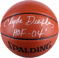 Clyde Drexler Portland Trail Blazers Autographed Spalding Indoor Outdoor Basketball with HOF 04 Inscription - Mounted Memories