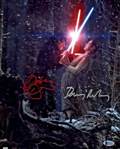 Driver & Ridley Signed Star Wars Jedi 11x14 Photo - Kylo Ren Rey Beckett BAS 5