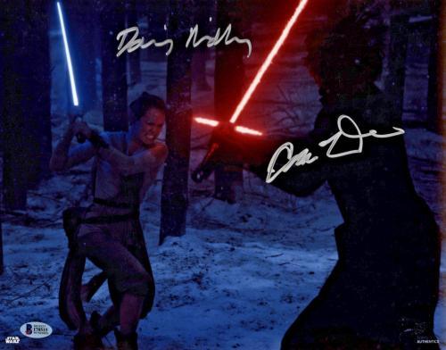 Driver & Ridley Signed Star Wars Jedi 11x14 Photo - Kylo Ren Rey Beckett BAS 6