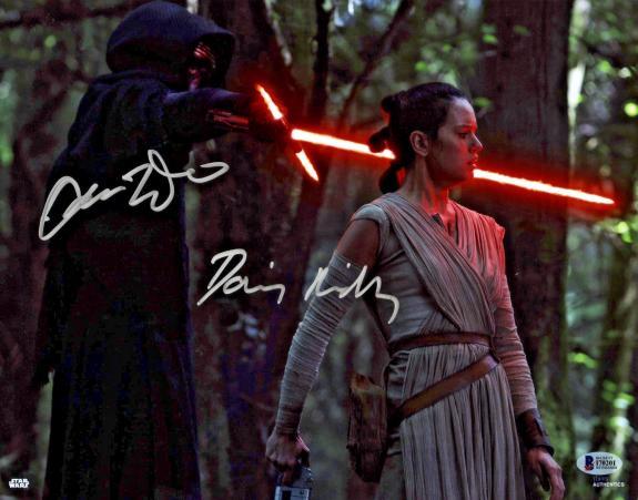 Driver & Ridley Signed Star Wars Jedi 11x14 Photo - Kylo Ren Rey Beckett BAS 7