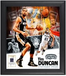 "Tim Duncan San Antonio Spurs Framed 15"" x 17"" Collage with Game-Used Jersey-Limited Edition of 521"