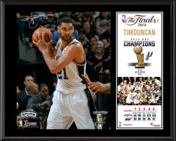 "Tim Duncan San Antonio Spurs 2014 NBA Finals Champions Sublimated 12"" x 15"" Plaque"