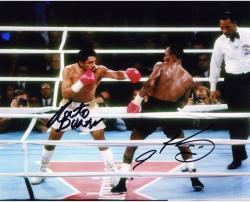 "Roberto Duran & Sugar Ray Leonard Dual Autographed 8"" x 10"" Photograph"