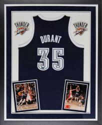 Kevin Durant Oklahoma City Thunder Autographed Deluxe Framed Adidas Authentic Alternative Blue Jersey