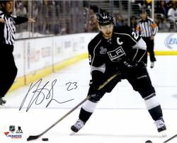 Dustin Brown Los Angeles Kings 2014 Stanley Cup Champions Autographed 16'' x 20'' Horizontal Action Black Jersey Photograph - Mounted Memories