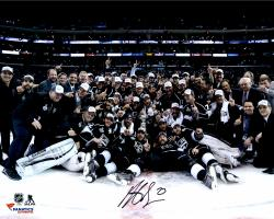 Dustin Brown Los Angeles Kings 2014 Stanley Cup Champions Autographed 16'' x 20'' Team Celebration Photograph - Mounted Memories