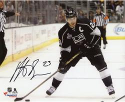 Dustin Brown Los Angeles Kings 2014 Stanley Cup Champions Autographed 8'' x 10'' Horizontal Action Black Jersey Photograph - Mounted Memories