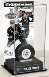 Dustin Brown Los Angeles Kings 2014 Stanley Cup Champions Logo Deluxe Puck Case - Mounted Memories