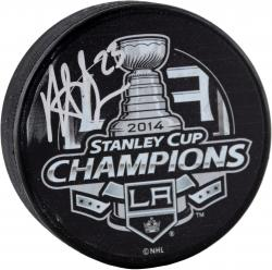 Dustin Brown Los Angeles Kings Autographed Hockey 2014 Stanley Cup Logo Puck - Mounted Memories