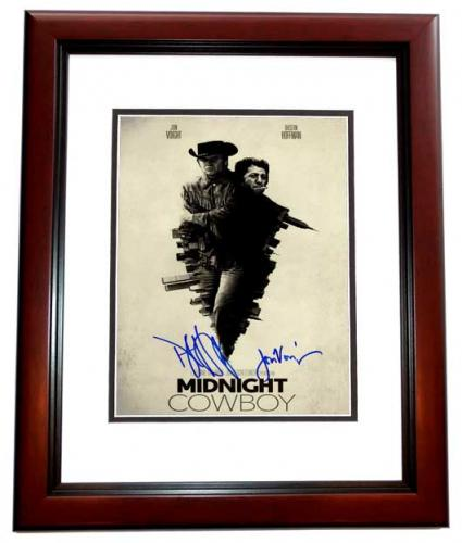 Dustin Hoffman and Jon Voight Signed - Autographed Midnight Cowboy 11x17 inch Photo MAHOGANY CUSTOM FRAME - Guaranteed to pass PSA or JSA