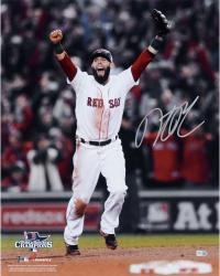 "Dustin Pedroia Boston Red Sox 2013 World Series Champions Autographed 16"" x 20"" Arms Up Photograph"