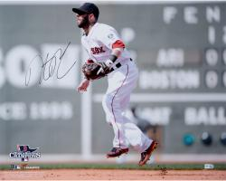 "Dustin Pedroia Boston Red Sox 2013 World Series Champions Autographed 16"" x 20"" Green Monster Photograph"