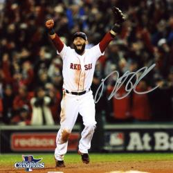 "Dustin Pedroia Boston Red Sox 2013 World Series Champions Autographed 8"" x 10"" Arms Up Photograph"