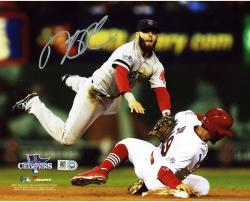 "Dustin Pedroia Boston Red Sox 2013 World Series Champions Autographed 8"" x 10"" Double Play Photograph"