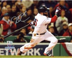 "Dustin Pedroia Boston Red Sox 2013 World Series Champions Autographed 8"" x 10"" Logo Hitting Photograph"