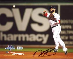 "Dustin Pedroia Boston Red Sox 2013 World Series Champions Autographed 8"" x 10"" Throwing Photograph"