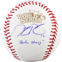 Dustin Pedroia Boston Red Sox 2013 World Series Champions Autographed World Series Logo Baseball with Boston Strong Inscription