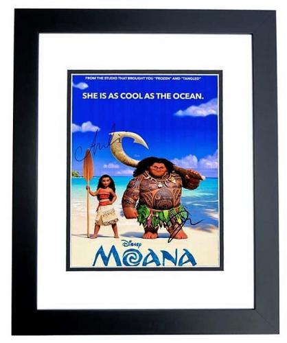 Dwayne Johnson and Auli'i Cravalho Signed - Autographed MOANA 11x14 inch Photo - Guaranteed to pass PSA/DNA or JSA - BLACK CUSTOM FRAME