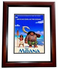 Dwayne Johnson and Auli'i Cravalho Signed - Autographed MOANA 11x14 inch Photo - Guaranteed to pass PSA/DNA or JSA - MAHOGANY CUSTOM FRAME