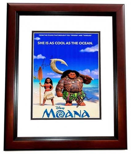 Dwayne Johnson and Auli'i Cravalho Signed - Autographed MOANA 11x14 inch Photo - Guaranteed to pass PSA/DNA or JSA - MAHOGANY CUSTOM FRAME
