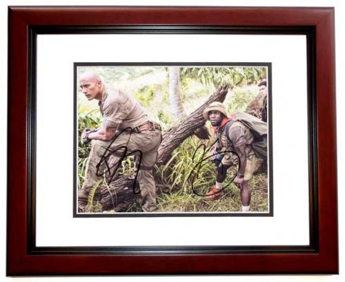 Dwayne Johnson and Kevin Hart Signed - Autographed Jumanji: Welcome to the Jungle 8x10 inch Photo MAHOGANY CUSTOM FRAME - Guaranteed to pass PSA or JSA