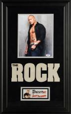 "Dwayne Johnson Deluxe Framed Autographed 8"" x 10"" The Rock Shirt Open Photograph - PSA/DNA COA"