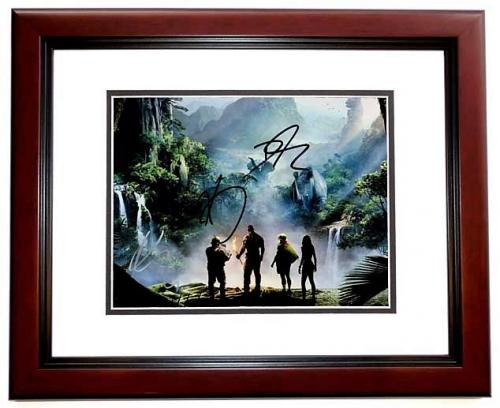 Dwayne Johnson, Karen Gillan, and Kevin Hart Signed - Autographed Jumanji: Welcome to the Jungle 11x14 inch Photo MAHOGANY CUSTOM FRAME - Guaranteed to pass PSA or JSA