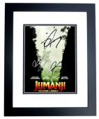 Dwayne Johnson, Karen Gillan, and Kevin Hart Signed - Autographed Jumanji: Welcome to the Jungle 8x10 inch Photo BLACK CUSTOM FRAME - Guaranteed to pass PSA or JSA