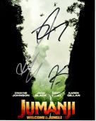 Dwayne Johnson, Karen Gillan, and Kevin Hart Signed - Autographed Jumanji: Welcome to the Jungle 8x10 inch Photo - Guaranteed to pass PSA or JSA