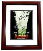 Dwayne Johnson, Karen Gillan, and Kevin Hart Signed - Autographed Jumanji: Welcome to the Jungle 8x10 inch Photo MAHOGANY CUSTOM FRAME - Guaranteed to pass PSA or JSA