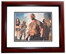 Dwayne Johnson, Karen Gillan, and Kevin Hart Signed - Autographed Jumanji: Welcome to the Jungle 8x10 inch Photo MAHOGANY CUSTOM FRAME - Guaranteed to pass PSA or JSA