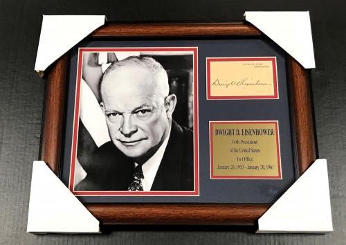 DWIGHT D EISENHOWER Autographed Facsimile Reprint Framed 8x10 Photo PRESIDENT