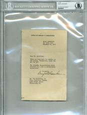 Dwight D. Eisenhower Signed 5x7.75 Letter Dated December 16, 1952 BAS Slabbed