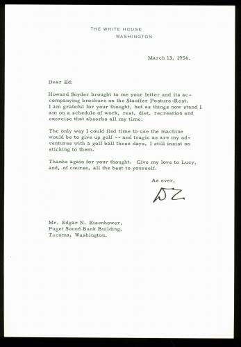 Dwight D. Eisenhower Signed 7.25x10.5 Letter Dated 3/13/56 On WH Letterhead BAS