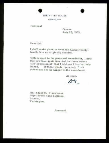 Dwight D. Eisenhower Signed 7x9 Letter Dated July 22, 1955 On WH Letterhead BAS